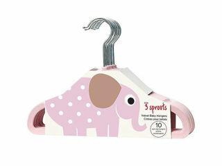 Immagine di 3 Sprouts 10 grucce in velluto elefante rosa - Accessori vari