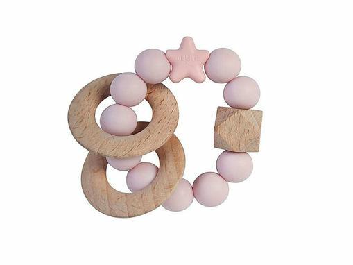 Immagine di Nibbling bracciale massaggiagengive e sonaglio 2 in 1 stellar rosa confetto  - Benessere