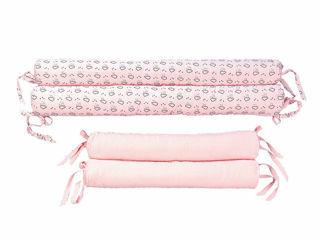Immagine di Picci bombolini a perimetro per lettino Liberty rosa - Corredino nanna