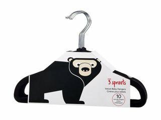 Immagine di 3 Sprouts 10 grucce in velluto orso nero - Accessori vari