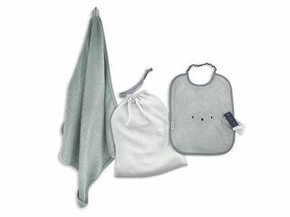 Immagine di Bamboom Bath Set Toddler asciugamano + borsa + bavaglino XL verde - Accappatoi