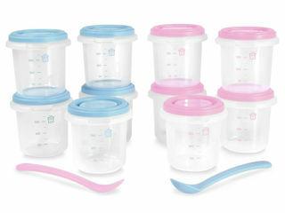 Immagine di Miniland contenitori ermetici 10 pz + 2 cucchiai azzurro-rosa - Accessori vari