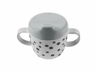 Immagine di Done by Deer tazza Spout con beccuccio e manici Happy Dots 230 ml grigio-nero - Tazze e bicchieri