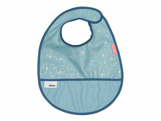 Immagine di Done by Deer bavaglino impermeabile con tasca Contour celeste - Bavaglini neonato
