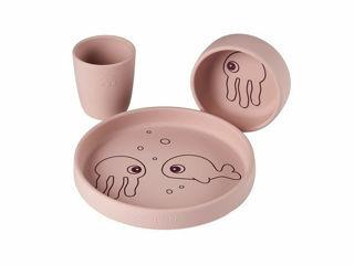 Immagine di Done by Deer set pappa in silicone alimentare Amici del Mare rosa - Piatti e posate