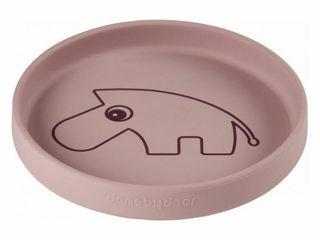 Immagine di Done by Deer piatto in silicone alimentare Zebee rosa cipria - Piatti e posate