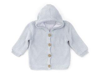 Immagine di Bamboom cardigan con cappuccio fatto a maglia azzurro tg 18 mesi - Giubbini
