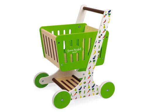 Immagine di Janod carrello della spesa in legno Green Market  - Educativi