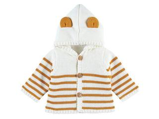 Immagine di Noukie's cardigan con cappuccio bianco rigato tg 6 mesi - Giubbini