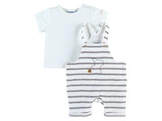 Immagine di Noukie's salopette a righe e maglietta bianco tg 6 mesi - Tutine