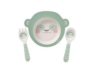 Immagine di Saro Baby set pappa in bambù Dolce Bradipo 3 pz verde menta - Piatti e posate