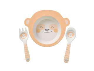 Immagine di Saro Baby set pappa in bambù Dolce Bradipo 3 pz rosa salmone - Piatti e posate
