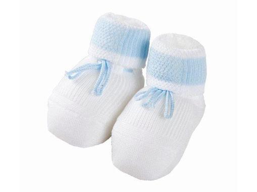 Immagine di Premamy scarpina neonato in cotone mercerizzato cielo - Calzine per neonato