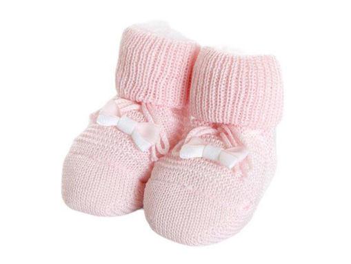 Immagine di Premamy scarpina neonato in cotone mercerizzato con applicazione fiocco rosa - Calzine per neonato
