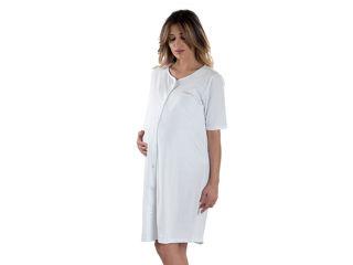 Immagine di Premamy camicia da notte clinica aperta davanti mezza manica bianco tg S - Premaman