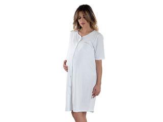 Immagine di Premamy camicia da notte clinica aperta davanti mezza manica bianco tg M - Premaman