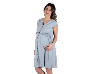Immagine di Premamy camicia da notte clinica aperta davanti mezza manica grigio melange con pois tg XL - Premaman