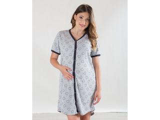Immagine di Premamy camicia da notte clinica aperta davanti mezza manica grigio con cuori tg S - Premaman
