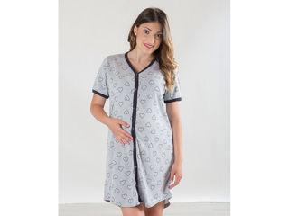 Immagine di Premamy camicia da notte clinica aperta davanti mezza manica grigio con cuori tg M - Premaman