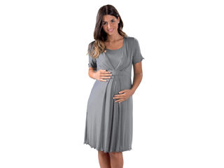 Immagine di Premamy camicia da notte per gravidanza e allattamento mezza manica grigio tg XL - Premaman