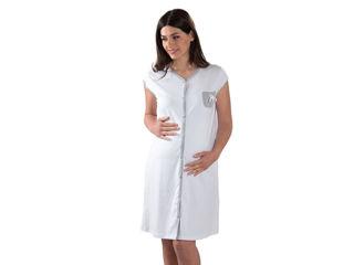 Immagine di Premamy camicia da notte clinica apertura davanti mezza manica micro pois grigio tg S - Premaman