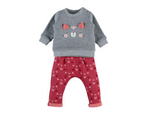 Immagine di Noukie's completo felpa Sweatoloudoux e pantaloni da jogging rosa-grigio tg 9 mesi - Vestiti