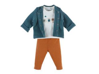 Immagine di Noukie's completo cardigan, t-shirt e pantaloni in cotone biologico blu tg 9 mesi - Vestiti