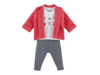 Immagine di Noukie's completo cardigan, t-shirt e pantaloni in cotone biologico rosa tg 9 mesi - Vestiti