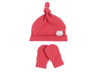 Immagine di Noukie's set berretto e muffole in cotone biologico rosa T1 (6-9 mesi) - Cappelli e guanti