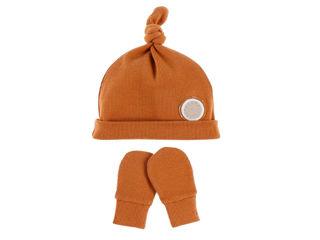 Immagine di Noukie's set berretto e muffole in cotone biologico cammello T0 (1-3 mesi) - Cappelli e guanti
