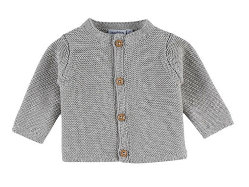 Immagine di Noukie's cardigan in maglia organica grigio M&M tg 3 mesi - Giubbini