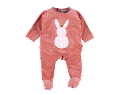 Immagine di Noukie's pigiama da notte in velluto rosa con coniglio tg 0 mesi - Tutine