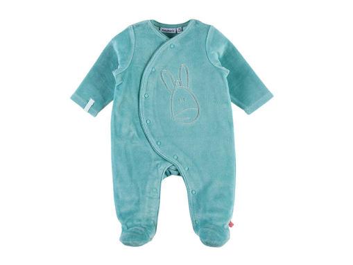 Immagine di Noukie's pigiama per dormire bene in velluto verde mare tg 0 mesi - Tutine