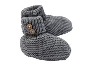 Immagine di Bamboom babbucce fatte a maglia grigio - Calzine per neonato