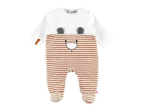 Immagine di Noukie's pigiama per dormire bene in velluto bianco e caramello tg 0 mesi - Tutine