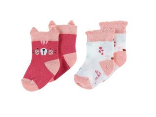 Immagine di Noukie's 2 paia di calzini in cotone rosa tg 20 - Calzine per neonato