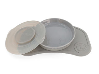 Immagine di Twistshake Click-Mat Mini + Plate grigio pastello - Piatti e posate